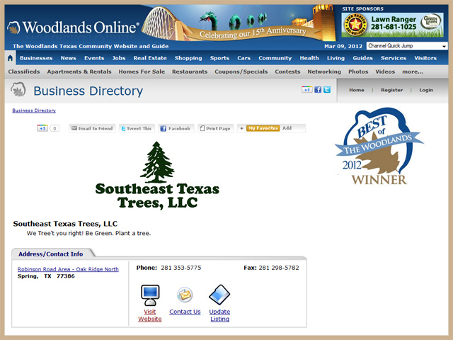 2102 Award - Best Tree Service in THe Woodlands, TX Awarded by Woodlands Online